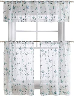 GoodGram Cassandra Floral Embroidered Semi Sheer Kitchen Curtain Tier & Valance Set - Assorted Colors (Aqua/Blue)