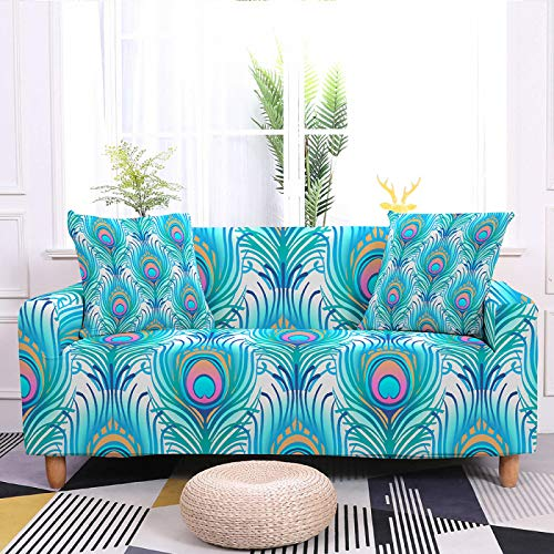 Stretch Printed Couch Cover, Blue Feather Pattern High Elastic Fabric Durable Sofa Slipcover, for Living Room Couch Cover L Shape Corner Armchair Protector Cover,4,Seater 235,300cm