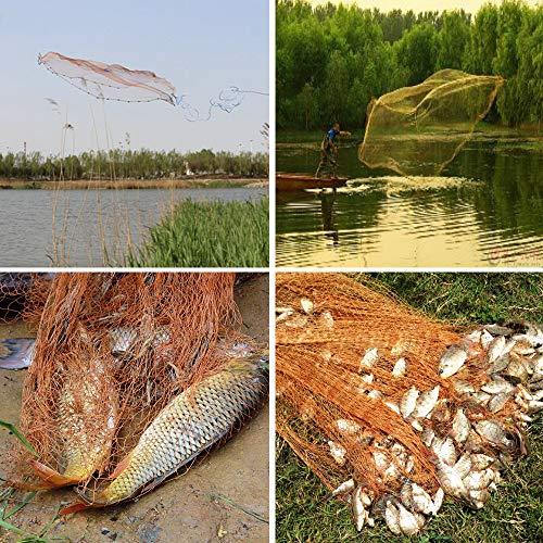Drasry Saltwater Fishing Cast Net for Bait Trap Fish Throw Net. Size 4ft/5ft/6ft/7ft/8ft Radius Freshwater Nets (Tire Lines Cast Net(1/2Inch Mesh), 4FT (120cm) Radius)