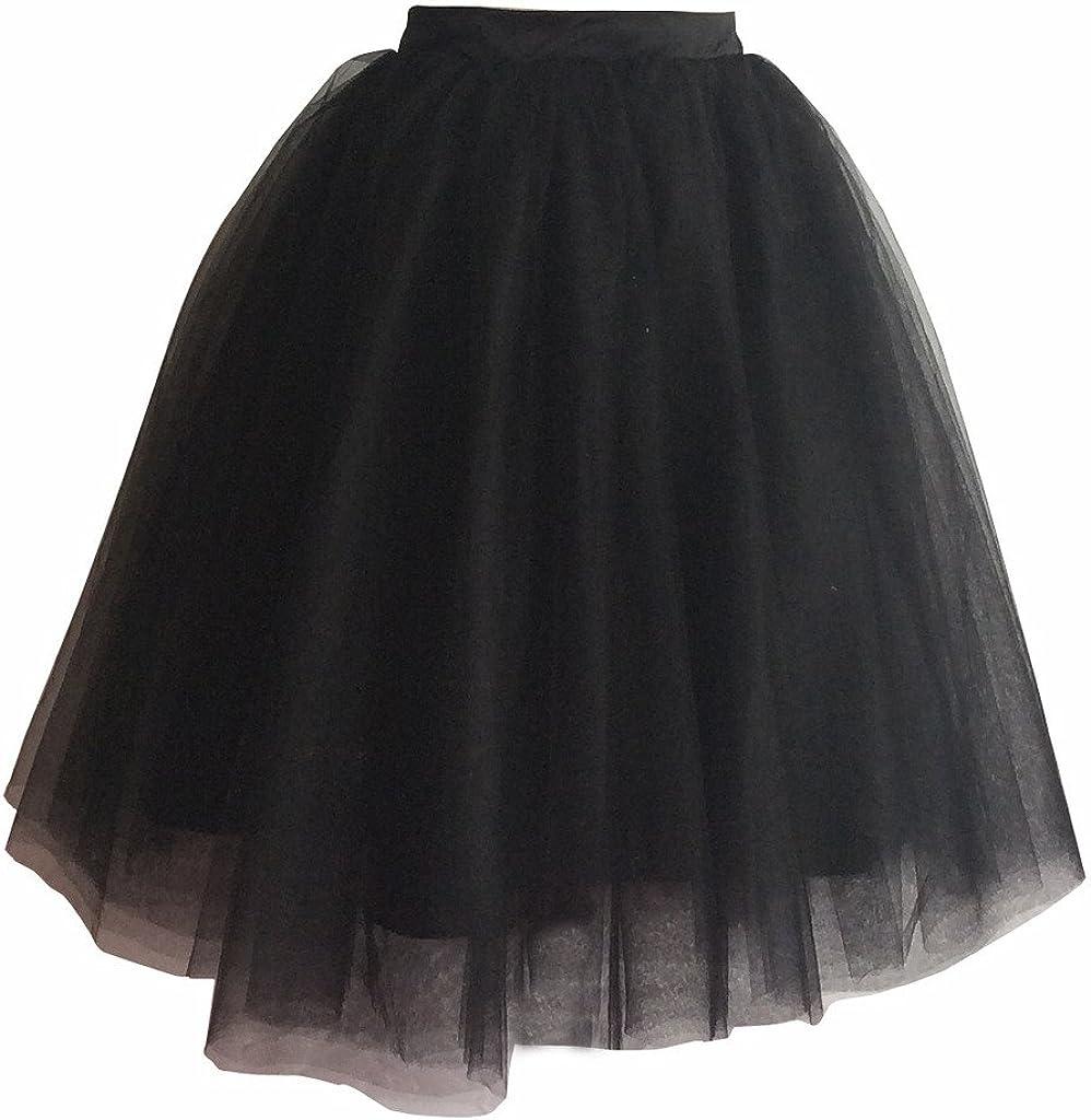 flowerry Women Tutu Tull Knee Length Skirt Wedding Bridesmaid Tutu Tulle Prom Skirt