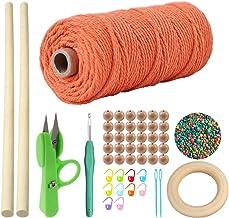 OMAY Macrame Cord 1-4mm x100m,Macrame Koord, Natual Macrame Katoen Touw Gevlochten Touwtje DIY Craft Cord,voor Wandophangi...