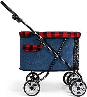 Cochecito de perro Cochecito de mascotas Cochecito de gato Jogger Plegable Portador de viaje Durable 4 ruedas Jaula para perritos con portavasos 35
