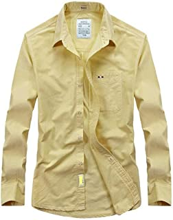 Soft and Close Men's Long-Sleeved Cotton Shirts, Men's Shirts Casual Fashion Shirt Solid Color wl (Color : Yellow, Size : XL)