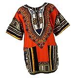 Camisa Africana Estampados Unisex Adulto Colores Brillantes Estampados Bordados Geométricos Florales - Naranja