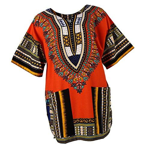 Sharplace Damen Kurzarm Sommer Traditionelle Afrikanische Kleider Afrika Style Minikleid Dashiki Cocktailkleid - Orange, wie beschrieben