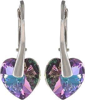 Crystal Diva Women's Silver Purple Swarovski Elements Earrings