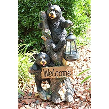 Ebros Climbing Black Bear Cubs Garden Light Statue Figurine Solar LED Lantern Light Welcome Sign Guest Greeter Decor For Patio Poolside Garden Home