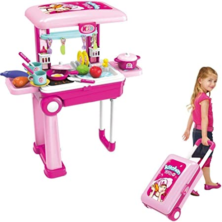 Buy Royaltail Little Chef 2 In 1 Kitchen Play Set Pretend Play Luggage Kitchen Kit For Kids With Suitcase Trolley Carrycase With Sound Lights And Accessories Included Multi Color Online At