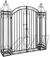 Outdoor Black Ornamental Garden Gate, Entry Gates Driveway Cottage Gate Wrought Iron Driveway Security Gate with Gate Pati...