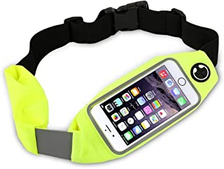 "Dual Pocket Running Belt Waist Pack, Weatherproof Sport Bag Pouch - Workout Walk Hiking Cycling - iPhone 8 7 6 6S 5 SE, Android Phone Holder, Clear Touch Screen Window by Boonix [Green 4.7""]"