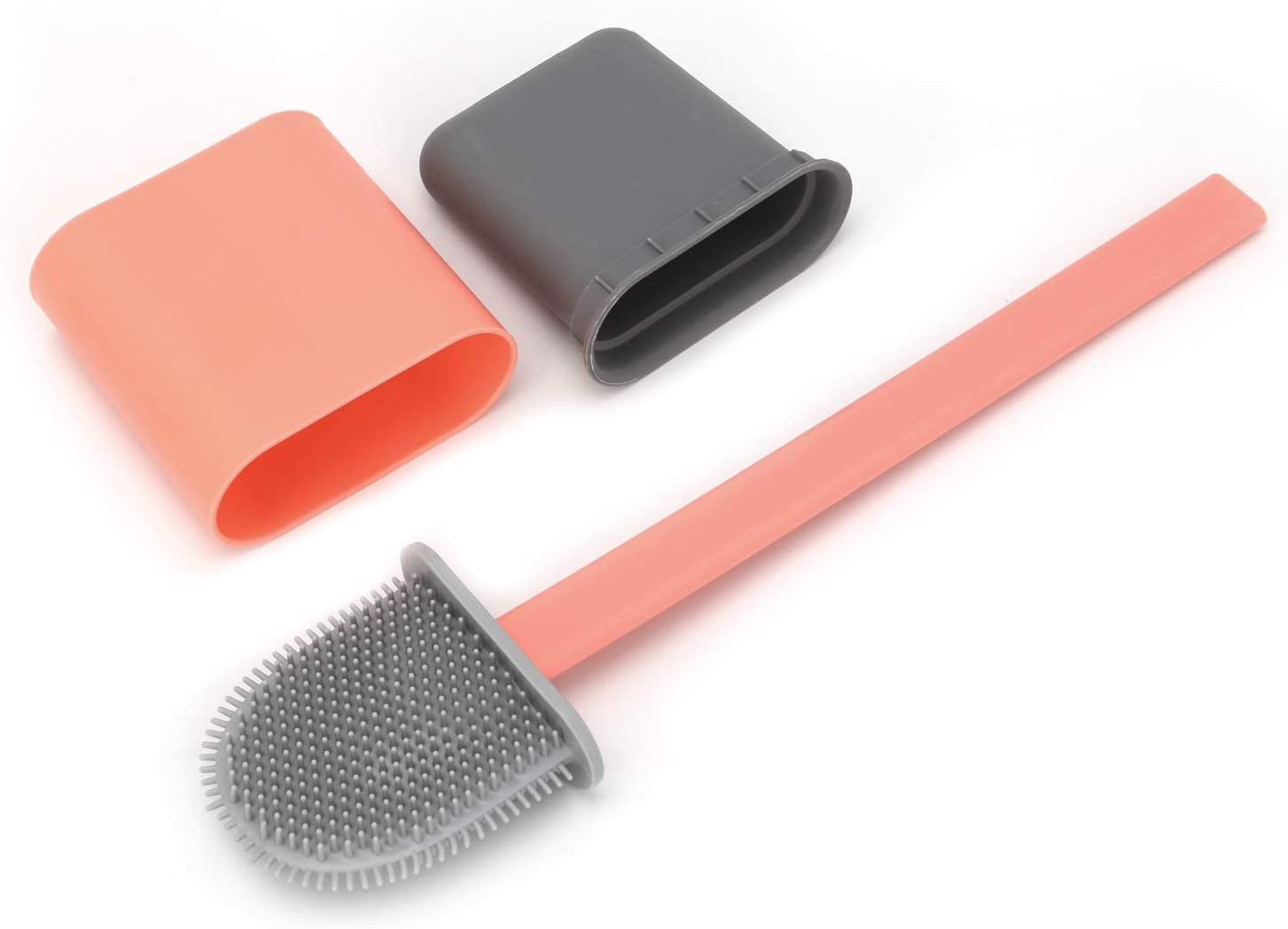 Xpork Silicone Toilet Brush and Holder with Quick Drying Holder Set for Bathroom Toilet Deep Cleaner Silicone Toilet Brushes for Bathroom Toilet Pink
