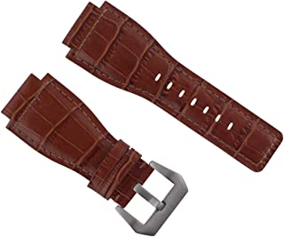 24MM LEATHER WATCH STRAP BAND FOR (42mm/46mm) BELL & ROSS BR-01-BR-03 WATCH TAN