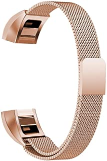 Replacement Bands Compatible for Fitbit Alta and Alta HR Milanese Loop Stainless Steel Metal Bands Bracelet Smart Watch Strap for Women Men - Small, Rose-Gold