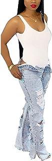 CORAFRITZ Pantalones vaqueros rasgados para mujer, sueltos, vintage, elásticos, casuales, de tiro medio, pantalones vaquer...