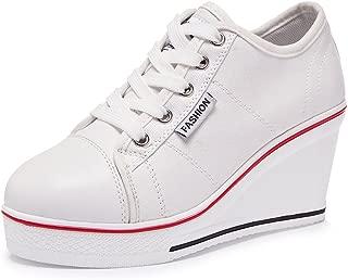 Sokaly Women's Canvas Shoes Wedge Heeled Platform Sneaker Fashion Pump Shoes