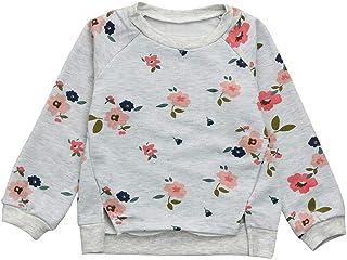 K-youth Para 2-7 años Niñas Ropa De Invierno Sudadera para niña Floral Impresión Blusas Bebe Niña Camiseta de Manga Larga ...