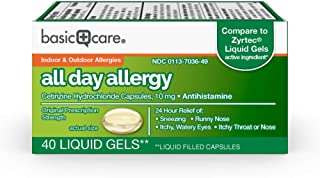 Amazon Basic Care All Day Allergy Relief, Cetirizine Hydrochloride Capsules 10 mg, 40 Count