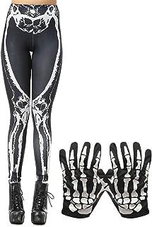 FEPITO Halloween Pumpkin Skulls Stretchy Leggings Costume Tights Skeleton Gloves