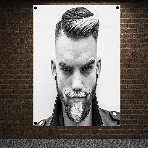 Classic Pompadour Men's Beard Hairstyle Barber Shop Decor Wall Chart Flag Canvas Painting 96x144 cm (38X57 inches) D02