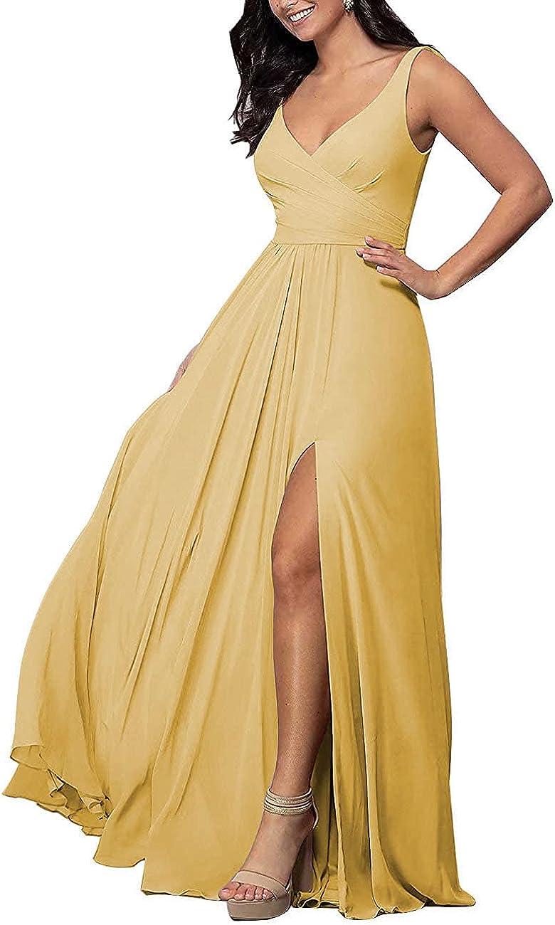 Free Shipping New V Neck Split Bridesmaid Dresses Long Chiffon Sleeveless Free Shipping New Pleated