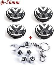 Set of 4 - Volkswagen Wheel Center Caps Emblem, 56mm VW Rim Hubcap Cover + Set of 4 Tire Valve Covers for VW Volkswagen Jetta Golf Beetle