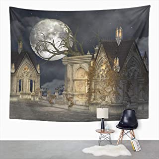 Peyqigo Wall Hanging Tapestry Haunted Village Mansion Abandoned Gothic Ancient Antique Arc Polyester Living Room Dorm Decoration Picnic Mat Beach Towel Home Decor 50 X 60 Inches