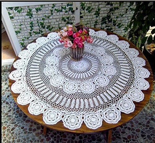 Crochet à la main prendre rural American Coton Nappe ronde tissé Tissu ajouré rond le café Table, Coton, blanc, 110*110cm