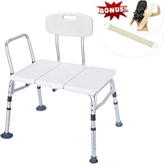 [Promoción] Health Line Tool-Free 400 lbs Transfer Bench, Deluxe Tub Adjustable Shower Bath Chair, w/Reversible Back & Non-Slip Feet, Great for Elderly, Disabled, Seniors & Bariatric - w/Bonus Scruber