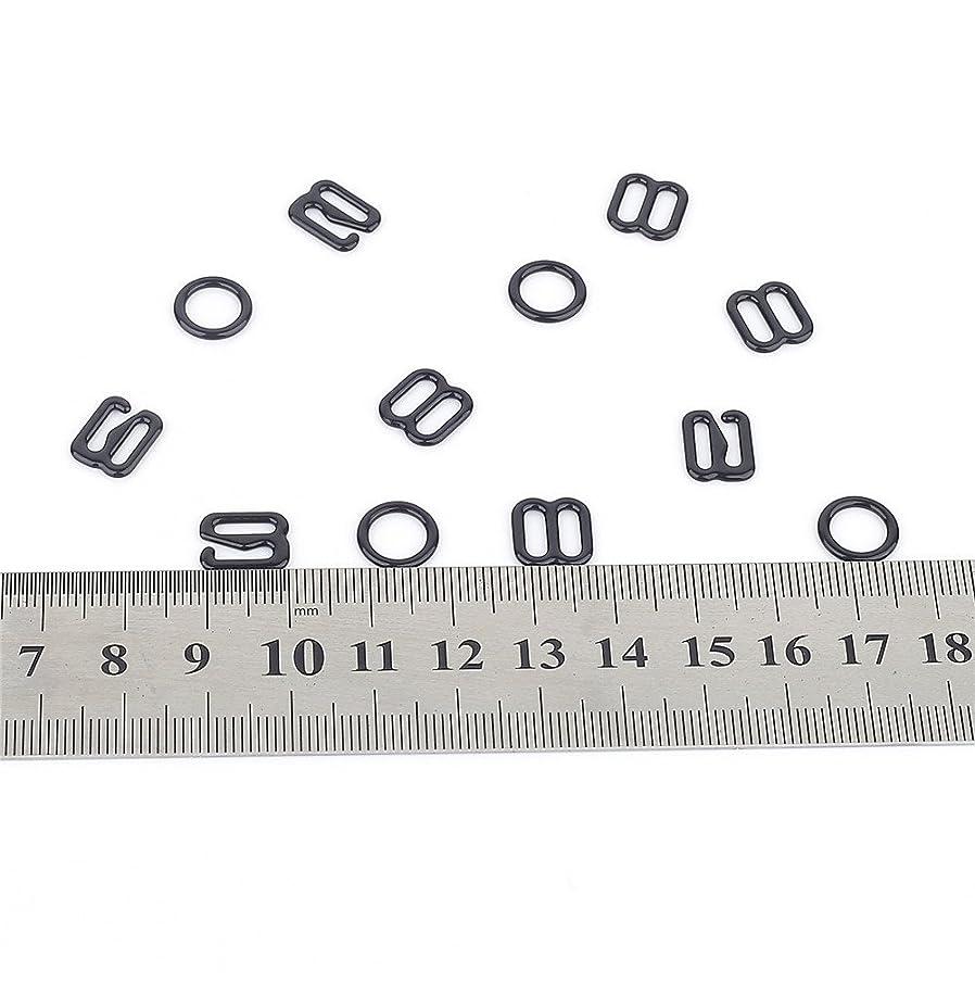 30 Sets Nylon Coated Metal Lingerie Adjustment strap slides Hardware Sewing Clips Clasp Hooks for Bra Strp (8mm, black)