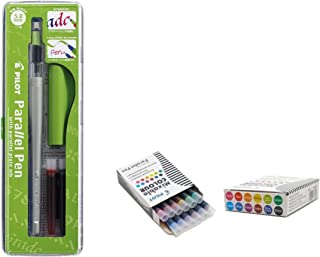 Lote 1 Pluma Caligráfica Pilot Parallel Pen plumin 3.8mm Recargable + Caja con 12 Recambios Surtidos Pluma Pilot Parallel Pen