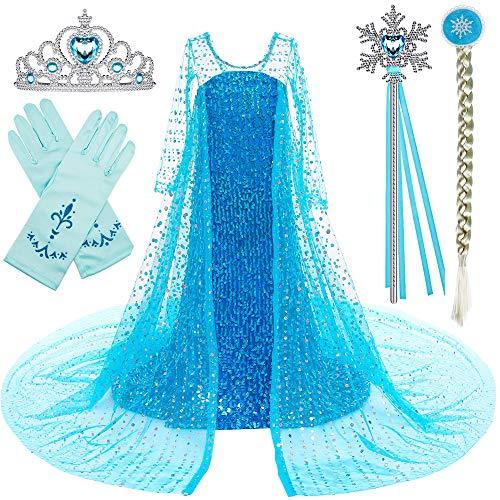 BanKids Elsa - Disfraz de niña para cosplay, Navidad, Halloween, fiesta, con capa, corona, varita mágica, 7-8 años (140 cm, E08)