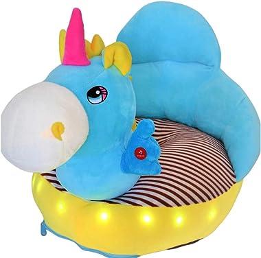 Royal Kids LED Light Toddler and Infant Plush Baby Lazy Sofa (Blue Unicorn)