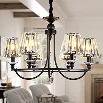 OSAIRUOS 6 Lights Contemporary Crystal Chandeliers for Dining Room Modern Rustic Pendant Lighting Fixture Hanging Round Kitchen Island Bedroom Entryway Chandelier Matte Black W28.5""