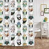 Set de cortina de ducha de búho con ganchos para la decoración del baño de los niños, lindos y coloridos búhos, pájaros, ilustraciones, accesorios de baño, regalos de búho para mujeres, hombres y niño