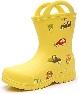 Kids Boys Girls Lightweight Easy-On Handles Rain Boots...