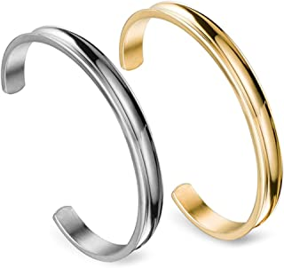 Zuo Bao Stainless Steel Bracelet Grooved Cuff Bangle for Women Girls