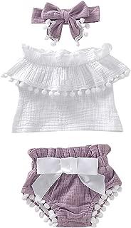 3PCS Newborn Baby Girls Clothes Off Shoulder Ruffled Tank Tops+ Bowknot Shorts Denim Pants Infant Summer Outfits