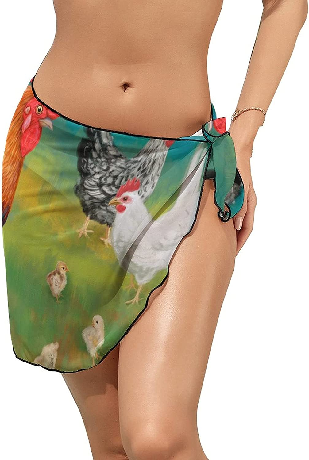 JINJUELS Women Beach Wrap Sarong Cover Up Colored Rooster with Chickens Sexy Short Sheer Bikini Wraps