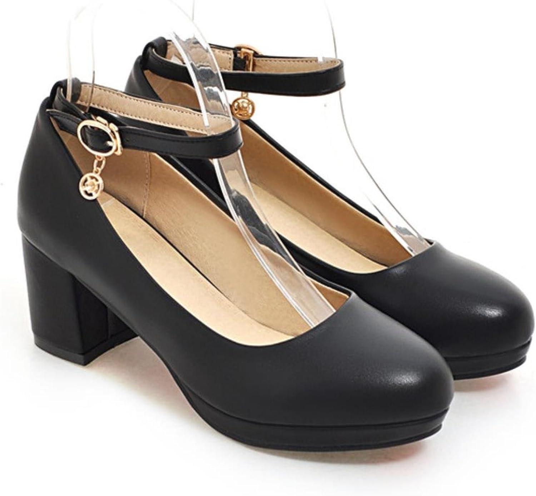 Meotina Women Heels shoes Platform shoes Buckle Women Black shoes