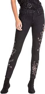 M2165AK Black Mid Rise Embroidered Skinny Denim