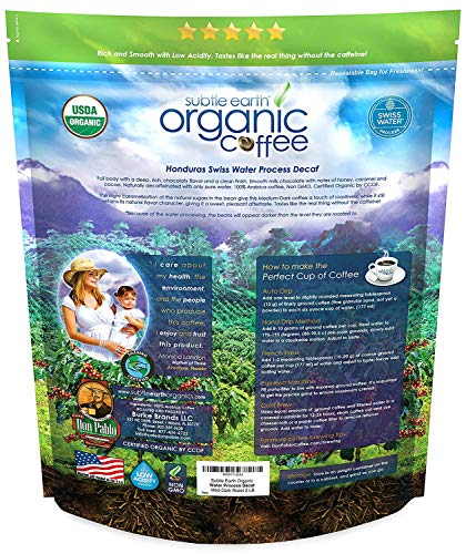 2LB Subtle Earth Organic Decaf - Swiss Water Process Decaf - Medium Dark Roast - Whole Bean Coffee - Low Acidity… 3 Swiss Water Process Decaffienated - 99.9% Caffiene Free USDA Organic Certified - Whole Bean - Medium Dark Roast Rich and chocolatey with profound depth of flavor, velvety body, and low acidity