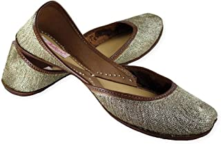 Fulkari Women's Soft Leather Bite and Pinch Free Embroidered On Leather All Zari Soft and Comfortable Office and Casual Wear Juti Ethnic Flat Jutis Shoes
