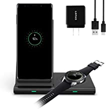 LDFAS Wireless Charger Dou Stand, 2 in 1 Dual Qi-Certified 10W Fast Wireless Charging Pad/Dock Compatible for Samsung Galaxy Watch 42mm/46mm/Active, Galaxy Buds, Gear S3, S10/S10+/S9/Note 10 Plus