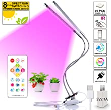 LED Grow Light for Indoor Plant,45W 90 LED Dual Head Cycle Timing Plant Growing Light with Infrared Remote Control,Adjustable Full Spectrum and Gooseneck,4/8/12H Timer (Silvery)