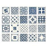Poromoro Spanish Portuguese Azulejo Style Backsplash Peel and Stick Tile Stickers Set of 20 pcs(5.9_D)