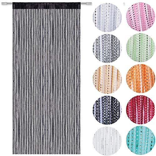 Qingyun - cortina de puerta y ventana decorativa, perfecta como mosquitera, tamaño pequeño, 90x 200cm
