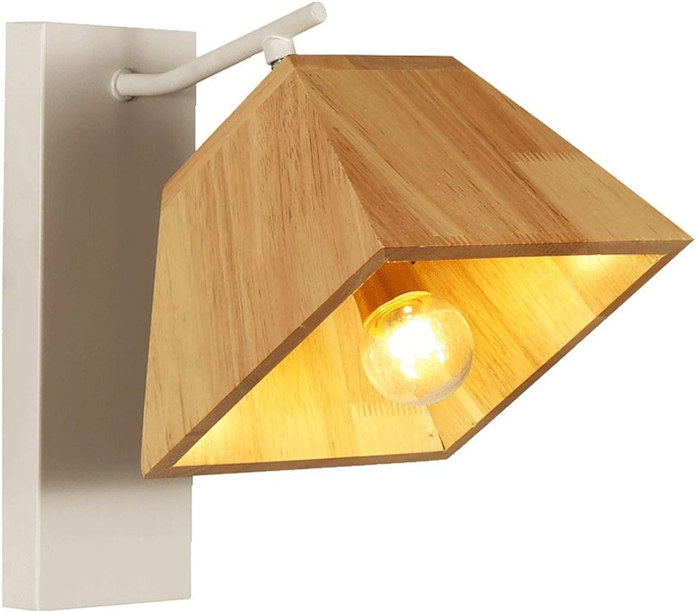 Peaceip Wandleuchte Massivholz Schatten Eisen Lampe Krper weiches Licht hart und langlebig Persnlichkeit kreative Wandleuchte Nachttischlampe für Schlafzimmer