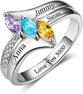 Fortheday Personalized Mothers Rings with 3 Simulated Birthstones and 3 Names Mother Rings for Women Promise Rings for Her