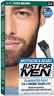 JUST FOR MEN Color Gel Mustache & Beard M-45, Dark Brown (Value Pack of 4)