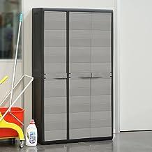 POCREATION Outdoor Large Garden Storage Cabinet,Lockable Black&Gray Polypropylene Storage Cabinet Storage Shed Cabinet wit...